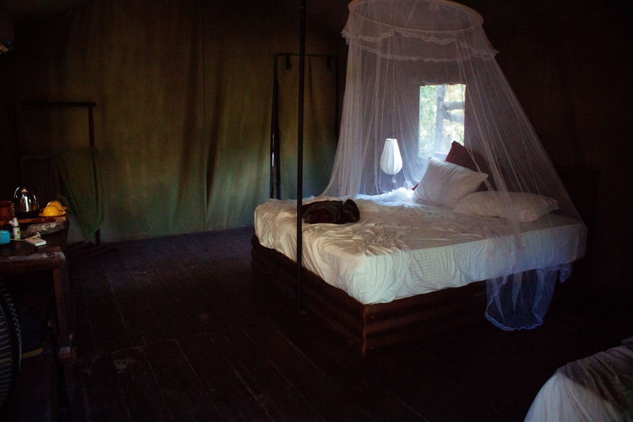 Large bed glamping experience